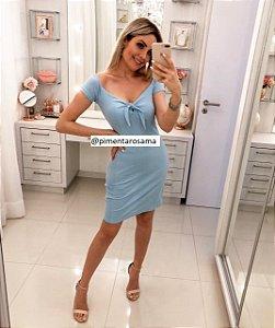 Vestido Laço Canelado Azul