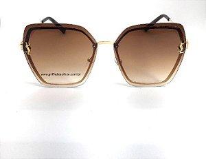 Oculos de Sol  Saint Laurent - Metal Luxury Degrade Marrom