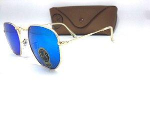 Óculos de Sol Ray Ban Rb Hexagonal  Azul Espelhado