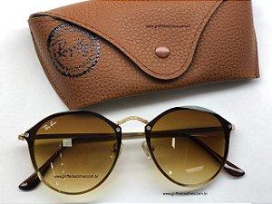 Óculos Ray Ban Blaze Round   3574  Marrom - Armação Pequeno