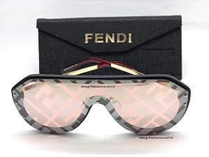 Óculos de Sol Fendi| Máscara FF-M0039/G/S-KB7/7Y Lentes  Monogram Vermelhas Espelhado
