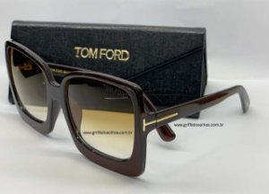 TOM FORD TF KATRINE MARROM -02 FT 0617/S QUADRADO