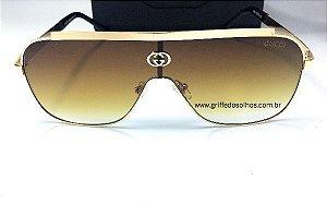 Óculos de Sol GG Gucci Máscara - Marrom Transparente