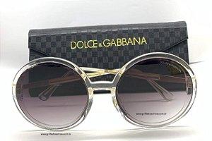 Óculos de Sol Redondo Dolce Gabbana - Acetato Transparente