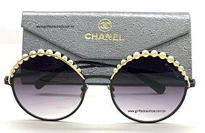 Óculos Chanel Redondo Pérolas Preto CH4234H  C101S4 Degradê