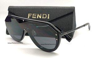 Óculos de Sol Fendi - Máscara  Preto FF-M0039 Monogram/ Lentes Preta  Unissex