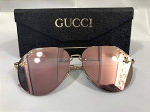 Gucci Abelha Aviador-  Feminino Rosa Espelhado