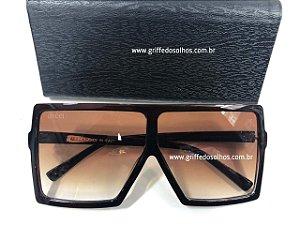 Gucci Máscara Oversized - Oculos de Sol Grande Quadrado Lente Transparente