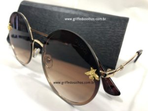 aa54532c8f92c Óculos de Sol Redondo Gucci - Bee Abelha
