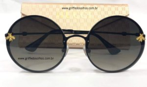 Óculos de Sol Redondo Gucci - Bee Abelha / Preto