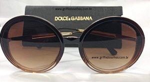 5564b8ac63062 Óculos de Sol Redondo Dolce Gabbana - Acetato Marrom