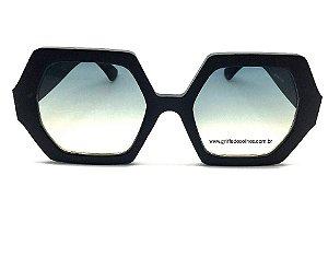 Óculos de Sol Anya Octagonal Preto Fosco- Feminino Grande