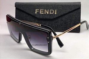 Fendi - Máscara Quadrado Unissex - Oculos de Sol Preto