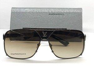 Louis Vuitton Quadrado Silver Masculino Óculos de Sol Tamanho GRANDE