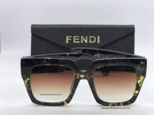 Fendi Facets FF0263S Quadrado - Animal Print /Verde Gradiente