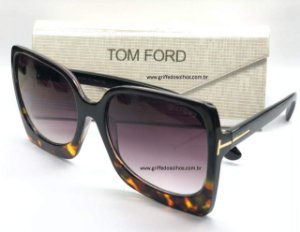 TOM FORD KATRINE QUADRADO 02 / 617 01B - PRETO E ANIMAL PRINT