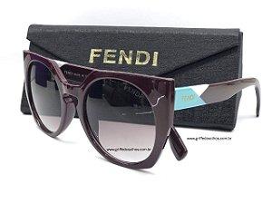 Óculos de Sol - Fendi FF 0151/S - Bordô  FACETS - Lente Cinza
