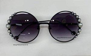 Chanel Redondo Preto  Ribbon and Pearls  Perolas - Oculos de Sol