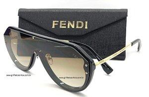Fendi Máscara FF-M0039 Lentes Cinza Transparente  Monogram / Gradiente Óculos de Sol
