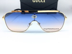 Óculos de Sol GG Gucci Máscara -  Lente Azul Armação Dourada