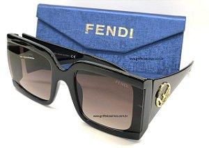 Fendi Quadrado Preto Lançamento - Oculos de Sol Tamanho Grande