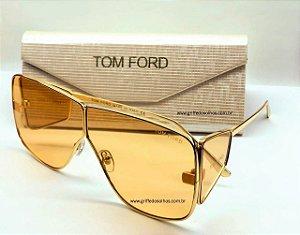 Tom Ford Spector 0708/S 33E  Oculos de Sol Unissex / Máscara Cor Alaranjada