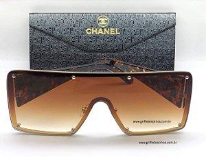 Chanel CH Grande Quadrado - Maxi  Óculos de Sol/  Marrom