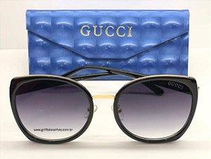 Óculos de Sol Gucci Clássico - Lente Preto   Degradê / Tamanho Medio