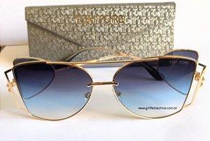 Tom Ford Maxi Óculos  - Oculos de Sol / Armação Dourada Leve Vazado Lente Azul Degrade