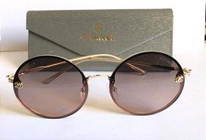 Óculos de Sol Redondo Chanel /  Lentes Transparentes