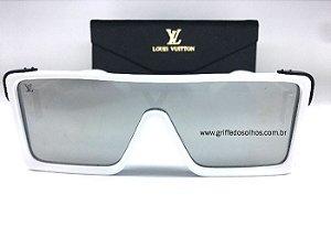Oculos Quadrado Louis Vuitton Square - Armação Branca / Lente Espelhada