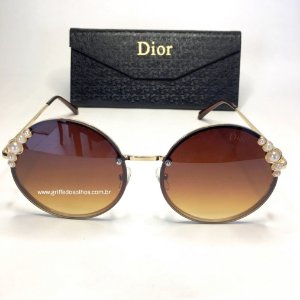 Dior Redondo Marrom  Ribbon and Pearls  Perolas - Oculos de Sol