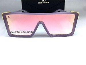 Oculos Quadrado Louis Vuitton Square Lilás / Lente Rosa Espelhado