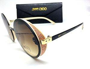 Jimmy Choo - ANDIE/S J7ANH Redondo - Óculos de Sol/ Brilho Rosa