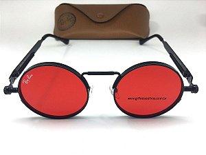 Ray Ban Redondo Vermelho Metal - Oculos de Sol