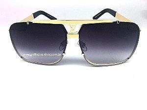 Louis Vuitton Óculos de Sol Masculino - Mascara Lente Marrom com Armação Dourada