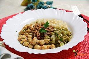 EQ10 - Maminha cozida e desfiada com arroz integral, grão-de-bico e vagem refogada com azeite e alho