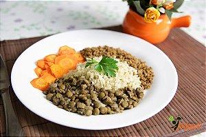 EQ19 - Patinho moído refogado, arroz integral, lentilha e cenoura refogada ao alho e azeite