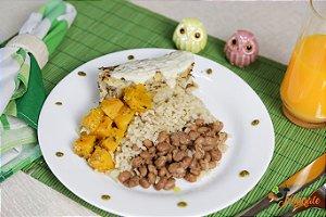 EQ23 – Filé de Merluza grelhado ao sugo com leite de coco, arroz integral, feijão e abóbora refogada ao azeite e alho