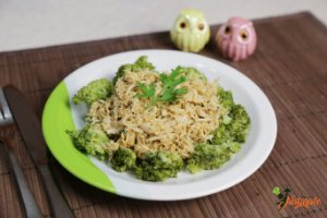 POS01 - Frango desfiado refogado ao curry e Brócolis refogado (200 g)