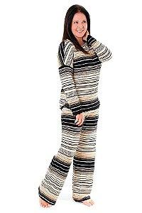 Pijama listrado com renda (somente adulto)