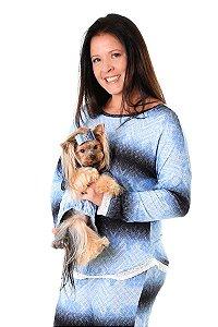 Pijama azul mesclado com renda (pet não incluso)