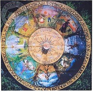 Toalha - Roda do Ano (Altar/ Tarot/ Leitura de Oráculos) - Colorida