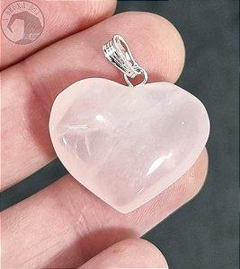 Pingente - Coração de Quartzo Rosa (Unidade)