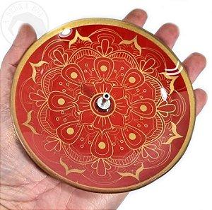 Incensário Mandala - Vermelho e Dourado