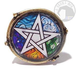 Anel Pentagrama 5 Elementos Ajustável