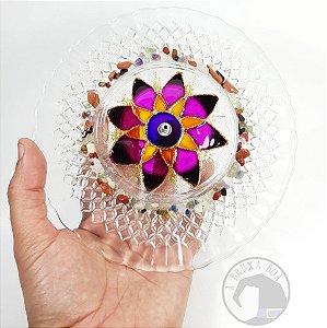 Prato Incensário Flor - Vidro