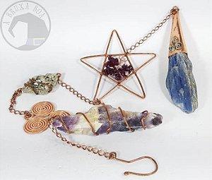 Amuleto Pendente - Proteção - Cacochinita, Pirita, Granada e Cianita Azul