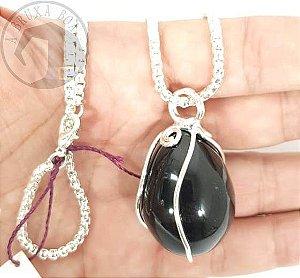Amuleto Ovo em Obsidiana