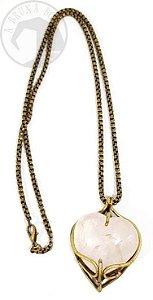 Amuleto - Coração em Quartzo Rosa